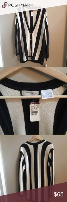 Vintage Liz Claiborne Navy and white cardigan Snagged this gem from my moms late 80s clothing stash. Original tags still on!! Super high quality. 100% rayon for soft feel with thicker fabric. Gold buttons. Longer fit. Liz Claiborne Sweaters Cardigans