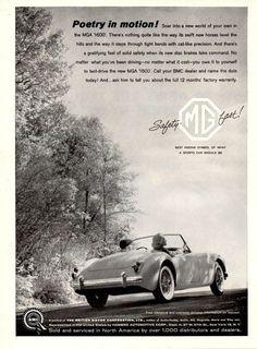 """1960 MGA 1600 Convertible Car Ad """"Poetry"""""""