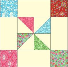 Framed Pinwheel Block: FREE Quilt Block Pattern Download