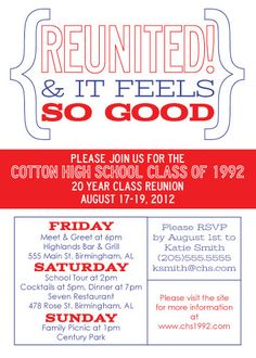 Class Reunion Invitation Template Beautiful Modern Class Reunion Invitation Reunited and It Feels so High School Class Reunion, 10 Year Reunion, High School Classes, Class Reunion Ideas, Highschool Reunion Ideas, School Reunion Decorations, Reunion Centerpieces, Class Reunion Invitations, Invitation Wording