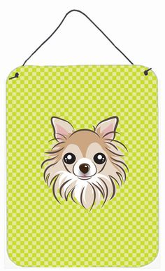 Checkerboard Lime Green Chihuahua Wall or Door Hanging Prints BB1313DS1216