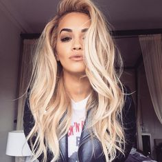 Rita Ora Long Blonde Waves