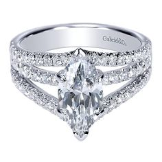 14K White Gold Split Shank Bridge Over Water Style Marquise Diamond Engagement Ring
