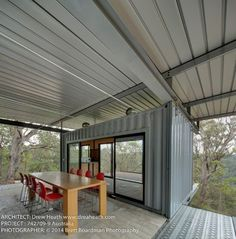 A container home that impresses. Built as a Mountain Bike Container Retreat, it is located on the edge of a steep heavily wooded valley in the Hunter Valley Sea Container Homes, Container House Plans, Container House Design, Cargo Container, Container Buildings, Container Architecture, Architecture Design, Shipping Container Design, Shipping Containers