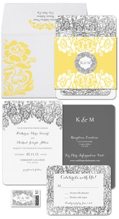 Yellow and Gray Wedding Invitations   Refined Retro Decor and Details - Wedding Inspiration