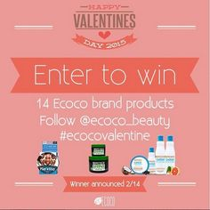 Don't miss out the chance to win 14 of our products on Instagram!  IG: @ecoco_beauty http://instagram.com/ecoco_beauty/  To enter, please follow @ecoco_beauty , repost this image and hashtag #ecocovalentine .The account must be public, open to US fans only. The winner has 24 hours to claim the prize, and we'll make announcement on 2/14. Good luck everyone! Ecoco loves you! #valentine #valentinegiveaway #valentinesday #giveaway