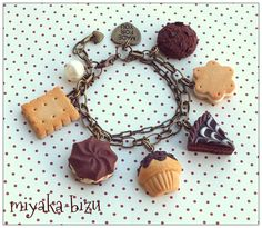 chocolate and vanilla. sweet bracelet with biscuit, cake, muffin and cookies. made by miyaka-biżu (polymer clay, fimo, sculpey, handmade)