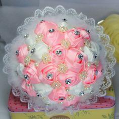 Свадебный букет ручной работы шелка розовые свадебный букет цветов с жемчужина алмазов и перо не мисс принять обычаи по ваши потребности(China (Mainland))