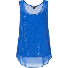 DKNY Silk Sequined Top in Electric Blue ($189) ❤ liked on Polyvore featuring tops, shirts, tank tops, tanks, blusas, royal blue tank top, silk shirt, blue sequin tank top, royal blue top and sequin shirt