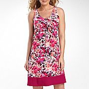 St. John's Bay® Pleat Print Dress with Banded Hem