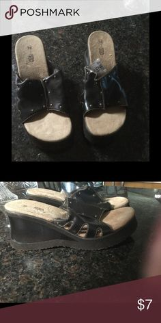 Wedge slide sandal, new Brown wedge sandal with suede footbed and 3 inch heel Route 66 Shoes Sandals