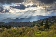 Blue Ridge Parkway North Carolina Mountains - Gods Country  Striking crepuscular light rays on a spring evening from the Blue Ridge Parkway near the Great Smoky Mountains National Park in Western North Carolina.
