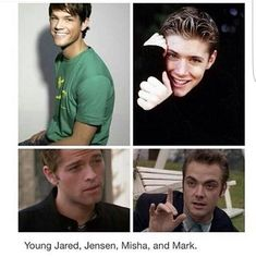 Jared~yeah I'm cute Jensen~look at me I'm adorable Misha~Cute sad face Mark~uhah no you didn't face