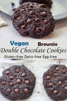 egg free dessert Gluten Free Chocolate Cookies, Dairy Free Brownies, Dairy Free Cookies, Dairy Free Eggs, Egg Free Desserts, Vegan Gluten Free Desserts, Vegan Sweets, Healthy Sweets, Vegan Foods