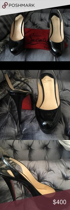 Patent Leather Louboutin Patent Leather Black Slingback Louboutin  Gorgeous  38.5 Small barely noticeable scuff near right toe  Otherwise flawless  From a pet free and smoke free home Christian Louboutin Shoes Heels