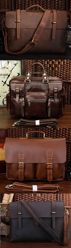 "Men's Handmade Vintage Leather Briefcase / Leather Messenger Bag / 13"" 15"" MacBook 13"" 14"" Laptop Bag MP8 on Storenvy"