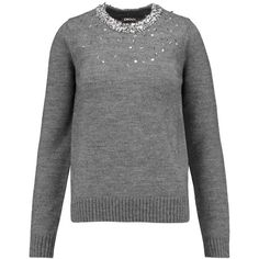 DKNY Bead and sequin-embellished knitted sweater (1.215 NOK) ❤ liked on Polyvore featuring tops, sweaters, grey, loose fitting sweaters, gray top, dkny sweater, dkny tops and sequin sweater