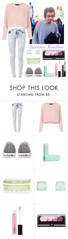 """""""Sweater Weater--Harry"""" by elise-22 ❤ liked on Polyvore featuring We Are Replay, Topshop, Converse, Eos, Kate Spade, MAC Cosmetics, harrystyles, Sweater and sweaters"""
