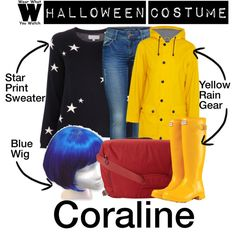Halloween Costume - Coraline by wearwhatyouwatch on Polyvore featuring Chinti and Parker, Petit Bateau, ONLY, Hunter, Osprey, Halloween, wearwhatyouwatch, film and halloweencostume