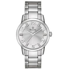 This 12-diamond Bulova stainless-steel women's watch combines quartz accuracy with timeless styling. It is water-resistant to three ATM and features a durable, mineral crystal. This watch looks great with both work and casual outfits.