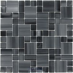 Renaissance Glass Tile - Handicraft II Art Glass Magic Mesh Mounted Versailles Glass Mosaic in Lagoon - ( GBM-87659 )