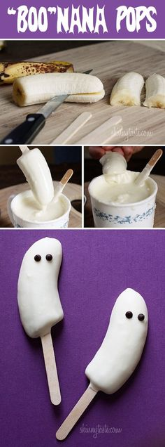 DIY Boo Nana Pops made with frozen bananas dipped in white chocolate, with chocolate chips or raisins as the eyes