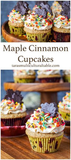A recipe for Maple Cinnamon Cupcakes- Tara's Multicultural Table- These cinnamon-scented cupcakes are topped with a sweet maple cinnamon buttercream for quite the decadent fall treat.