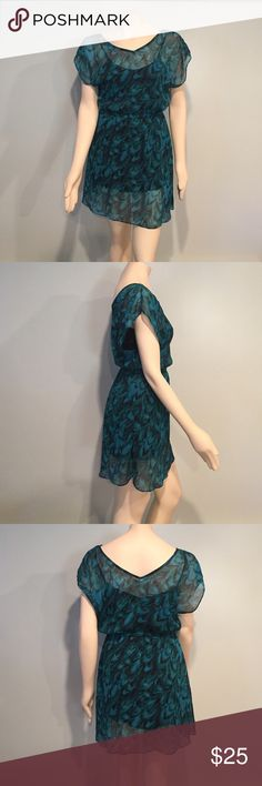 Blue and green patterned EXPRESS dress Excellent used condition. No stains or snags! Pet free/smoke free home!! 🎉 make me an offer🎉 Express Dresses Mini