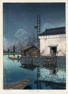hanga gallery . . . torii gallery: Rain at Ushibori by Kawase Hasui   1929