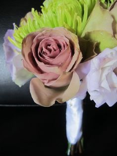 junior flower girl bouquet with fuji mums, amnesia roses and lisianthus; design by Davis Floral Creations