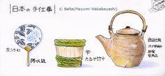 """2014_09_16_teshigoto_01_s 日本の手仕事 left...""""Kyo-uchiwa"""" Japanese round fan center...""""Taru"""" Japanese barrel right...""""Dobin"""" Japanese tea pot for this drawing I used : Faber castell polychromos MIDORI Traveler's notebook © Belta(Mayumi Wakabayashi)"""