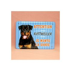 Plaque de race en métal, rottweiler.  Dimension: 15cm x 21cm
