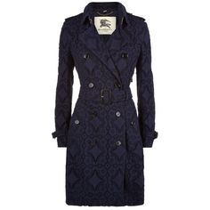 Burberry London The Kensington Mid-Length Lace Trench Coat ($2,595) ❤ liked on Polyvore featuring outerwear, coats, slim trench coat, military style coat, military coat, lace coat and slim coat