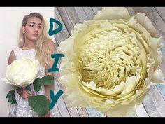 Пионовидная роза из гофрированной бумаги с одного рулона DIY Alina Shut - YouTube