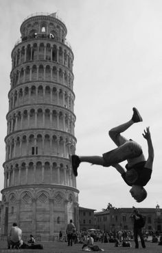 forced perspective- i choose this pin because you can see the guy not walking on the tower