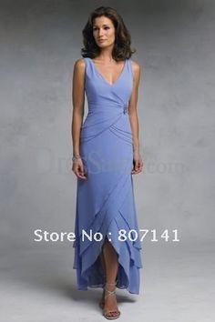 V-neck Sleeveless Blue Ankle Length Chiffon Mother Of Brides Dresses