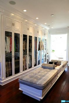 Bravo TV: Yolanda Foster's Closet - Walk-in closet with floor to ceiling cabinets housing fabulous ...