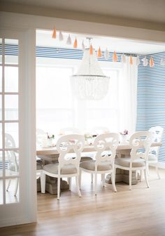 Blue and white striped wallpaper, Dining Room  Home Tour | Bria Hammel Interiors
