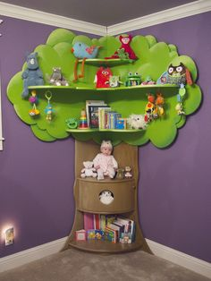 "Perfect for a nursery or children's room!Constructed by hand, this bookcase is made from 3/4"" MDF. It stands 7'6"" Tall, and 4' Wide from corner of wall to edge of tree top.It provides a lot of storage for books, toys, stuffed animals (and any other treasures your little one finds!), all with the benefit of using a very small footprint in the room.Bookcases are for sale in the SEATTLE AREA ONLY. The bookcase is quite heavy and costly to ship. Delivery available ..."