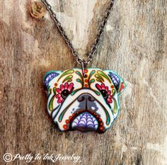 Day of the Dead English Bulldog Sugar Skull Dog Necklace