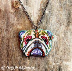 Day of the Dead English Bulldog Sugar Skull by PrettyInInkJewelry, $19.95