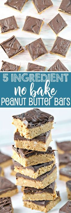 No Bake Peanut Butter Bars: Five ingredients and ten minutes are all you need for this crowd-pleasing favorite! {Bunsen Burner Bakery} via /bnsnbrnrbakery/ Camping Desserts, Desserts For A Crowd, Easy No Bake Desserts, Best Dessert Recipes, Easy Desserts, Delicious Desserts, Snack Recipes, Whole30 Recipes, Bar Recipes