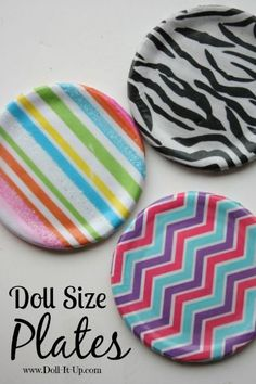 Doll size plates made with tissue paper, canning lids and Mod Podge. Easy and cute American Girl DIY.