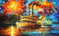 STEAMBOAT - Oil Painting On Canvas By Leonid Afremov. Any painting from the site for $99 with free international shipping! Click on the link in my profile to buy this painting. #romance #forever #happy #me #canvaspainting #color #drawing #onlineartgallery #photoday #photoshot #photoftheday