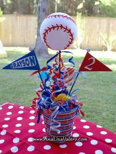 baseball centerpiece for party foam balls @ store Baseball Theme Birthday, Sports Birthday, Sports Party, 1st Birthday Parties, Birthday Ideas, 2nd Birthday, Theme Parties, Baseball Centerpiece, Baseball Party Decorations