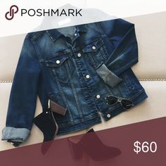 Denim Jacket Dark wash jean jacket with some distressing on collar. Super cute! Style it over a dress or with a white tee and black jeans! 🙅🏻No Trades 🙅🏻 Offers welcome! Thanks! Jackets & Coats Jean Jackets