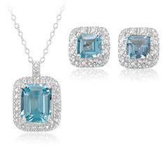 $22.99 - 5.5 Carat Emerald Cut Blue Topaz and Genuine Diamond Sterling Silver Pendant & Earrings Set