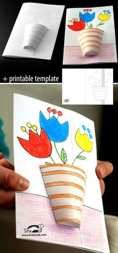 Preschool spring art activities work, 3 – # activities … - Easy Crafts for All Cup Crafts, Paper Crafts, Summer Crafts, Holiday Crafts, Art For Kids, Crafts For Kids, Art Children, Art N Craft, Spring Art