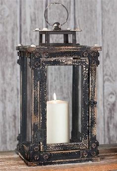 Architectural Tall Metal and Wooden Garden Lantern
