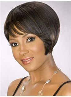 Vogue Wig Short Wavy Sepia African American Capless Wigs for Women 8 Inch